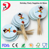 Kids Birthday Party Dancing Girl Design Fancy Topper Toothpick Cupcake Stick