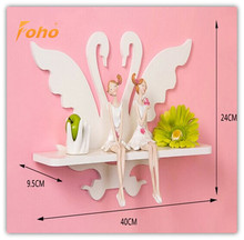 Decorative Pure white hollow out romantic swan white floating shelves FH-BL02401