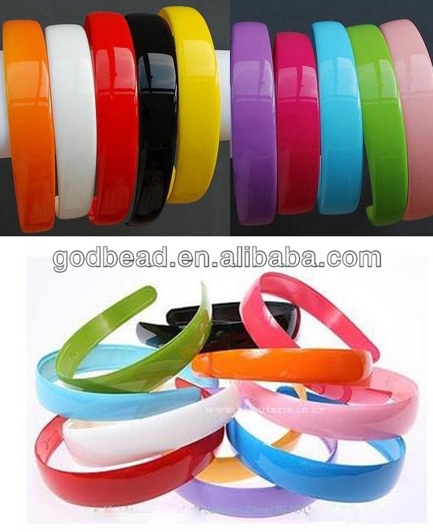 25mm Blank Plastic Headbands With Teeth Solid Candy Color & white & Black hairbands ,headwear