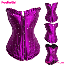 Paypal Accept Purple Overbust Fat Woman Sexy Boning Slim Waist Corset