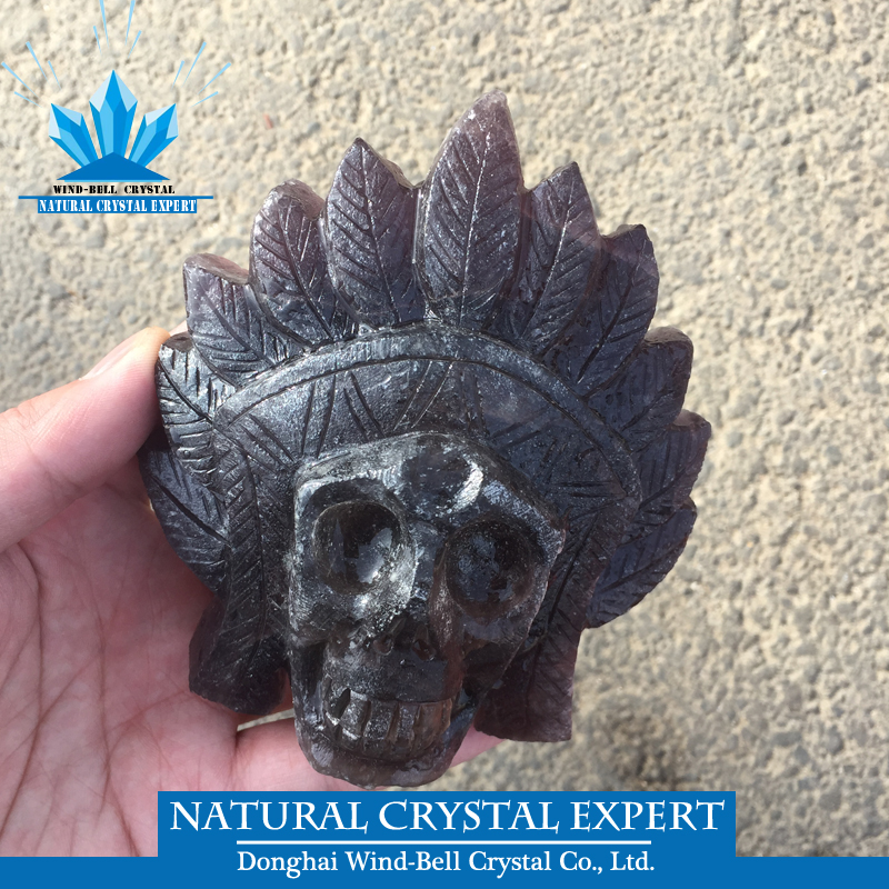Wholesale Natural Brown Fluorite Quartz Crystal Indian Skull With feather