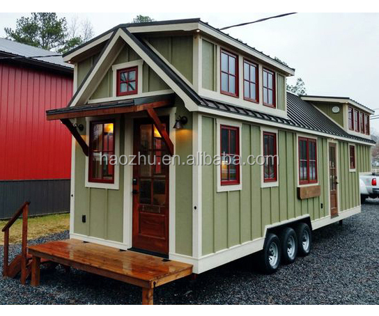 Pre-made movable tiny container house with wheels