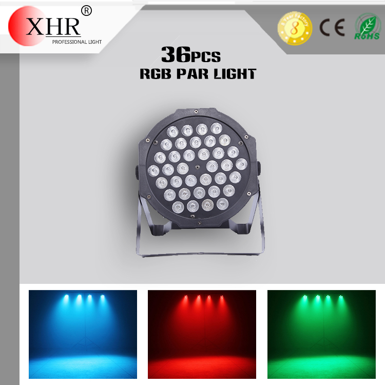 led 36 pcs full color led flat par RGBW 3W sound activated flat led par light