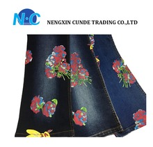 100% cotton printed denim fabric with flower pattern
