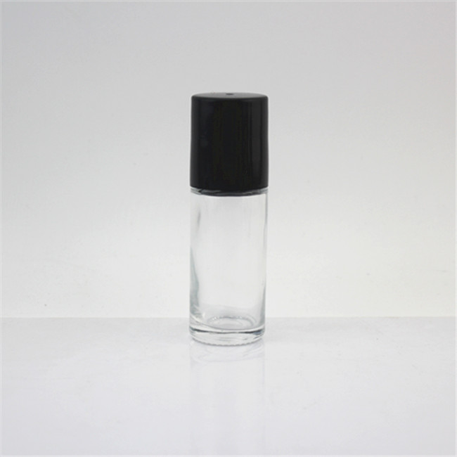 Factory Sale Success 30ml Transparent Glass Roll On Bottle With Black Lids