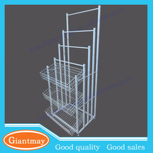 Protable and fance floor standing metal retail wire umbrella basket display stand for handing item