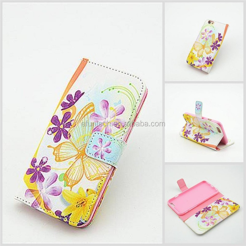Promotion low price girls use cute image PU leather wallet flip mobile phone cover For samsung Note4 Note3 S5 case