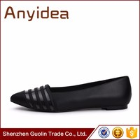 Wholesale fashion ladies shoes stitching flat shoes black and white striped female personality