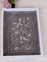 European style carved wood serving tray