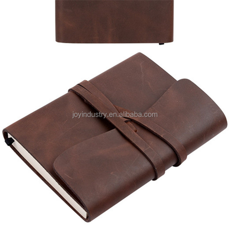 ZH237 Old Fashion notebook in High Quality Crazy Horse Leather, Vintage Diary