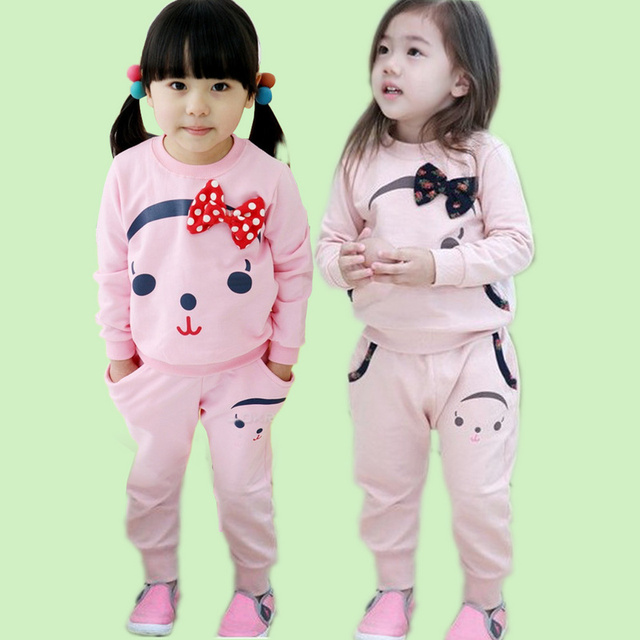 New 2017 Online Shop Two Piece Teddy Bear Pattern Suit Kids Clothes
