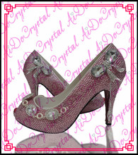 Aidocrystal Beautiful design Pink Indian bridal shoes for women low heels with crystal studded