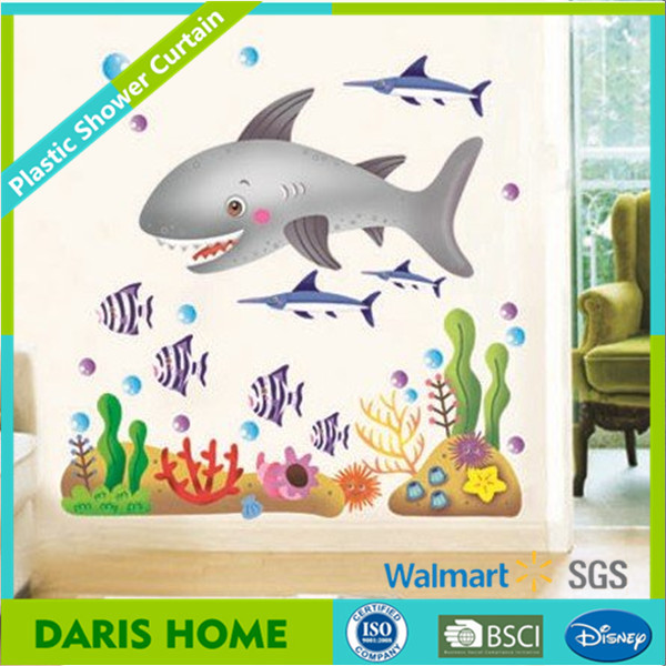 Fancy Dolphin Design Kids Bath Shower Curtain With Hooks, Kids Curtains