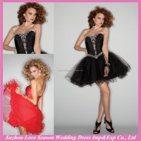 HC2054 Newest charmeuse and tulle beaded black sexy strapless sleeveless gathered super mini short tulle mini cocktail dresses
