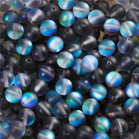 Glass Imitation Glitter Polaris Beads Round Gray Frosted About 6mm Dia, Hole: Approx 1.1mm