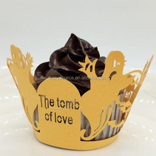 The tomb of love laser cutting cupcake wrapper Cupcake Cups Cupcake Liners wedding cake Wrappers for Cake Decorative
