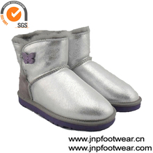 Women leather boots for winter sliver
