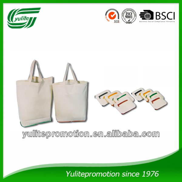 Color Zippered Foldable Cotton bag