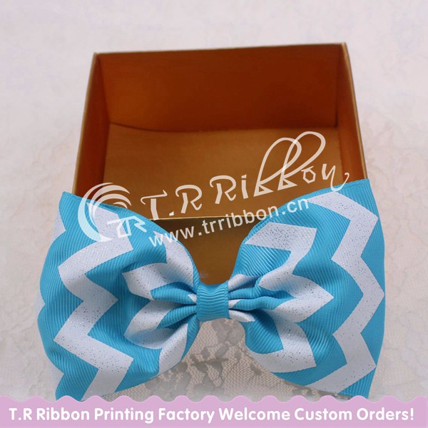 big hair bows, hair bows with clips, glitter blue chevron about 4inches