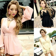 Korean Womens Girl dresses new fashion Party Evening Clubwear V-neck lady dress SV003912