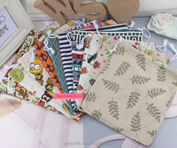 10 designs big size 24*31cm custom linen printed pretty carton linen bag drawstring pouches for rices