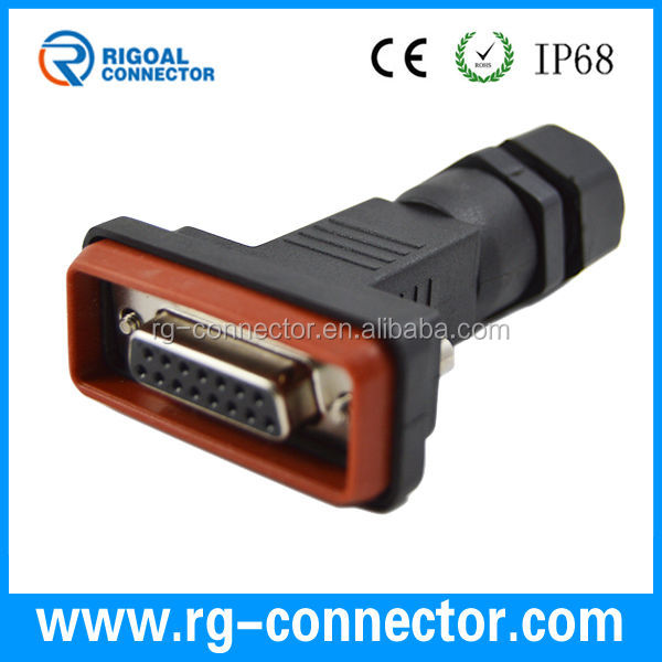 waterproof d sub 9pin 15pin female waterproof connector db9 db15 waterproof connector DB9 cable connector