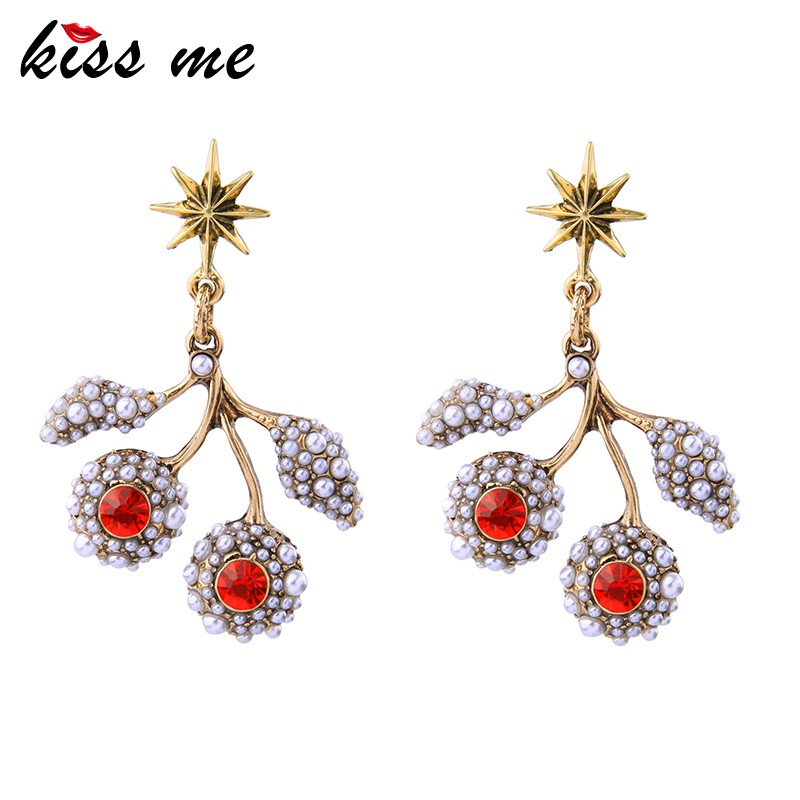 Discount Fashion Jewelry Cherry Shaped Statement Beads Earrings