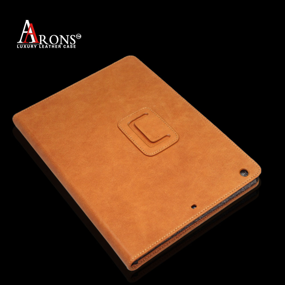 Genuine top grain tan leather tablet cover case for ipad air 2