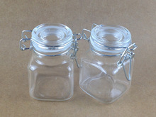 mini glass jar for candy spice food square glass jar with clip and rubber 100ml