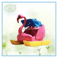 Funny amusement water parks fiberglass foot pedal boat ,sun slider pedal boat with canopy for sale