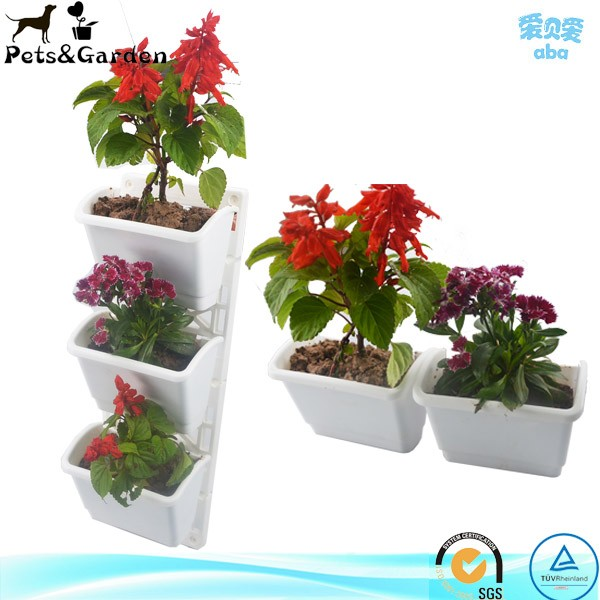 Plastic wall mounted seed plant container, planter brackets nursery pots