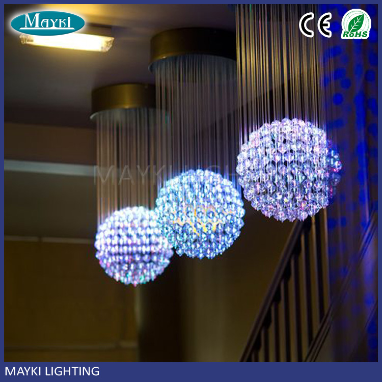 Wolesale Pink Blue Fiber Opticl Ball Chandelier for wedding decoration