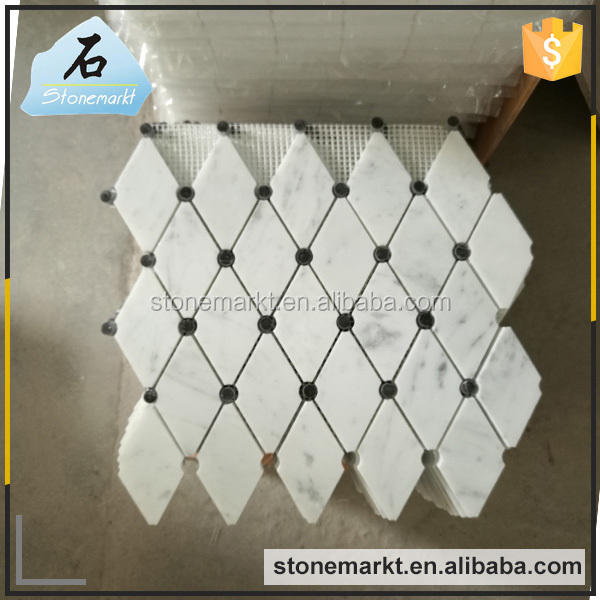 Natural stone polished white marble bathroom tiles mosaic
