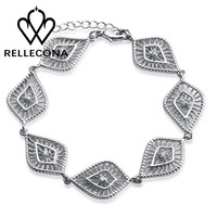 925 Sterling Silver Cubic Zircon CZ Leave Shape Link Chain Bracelet for Women 8