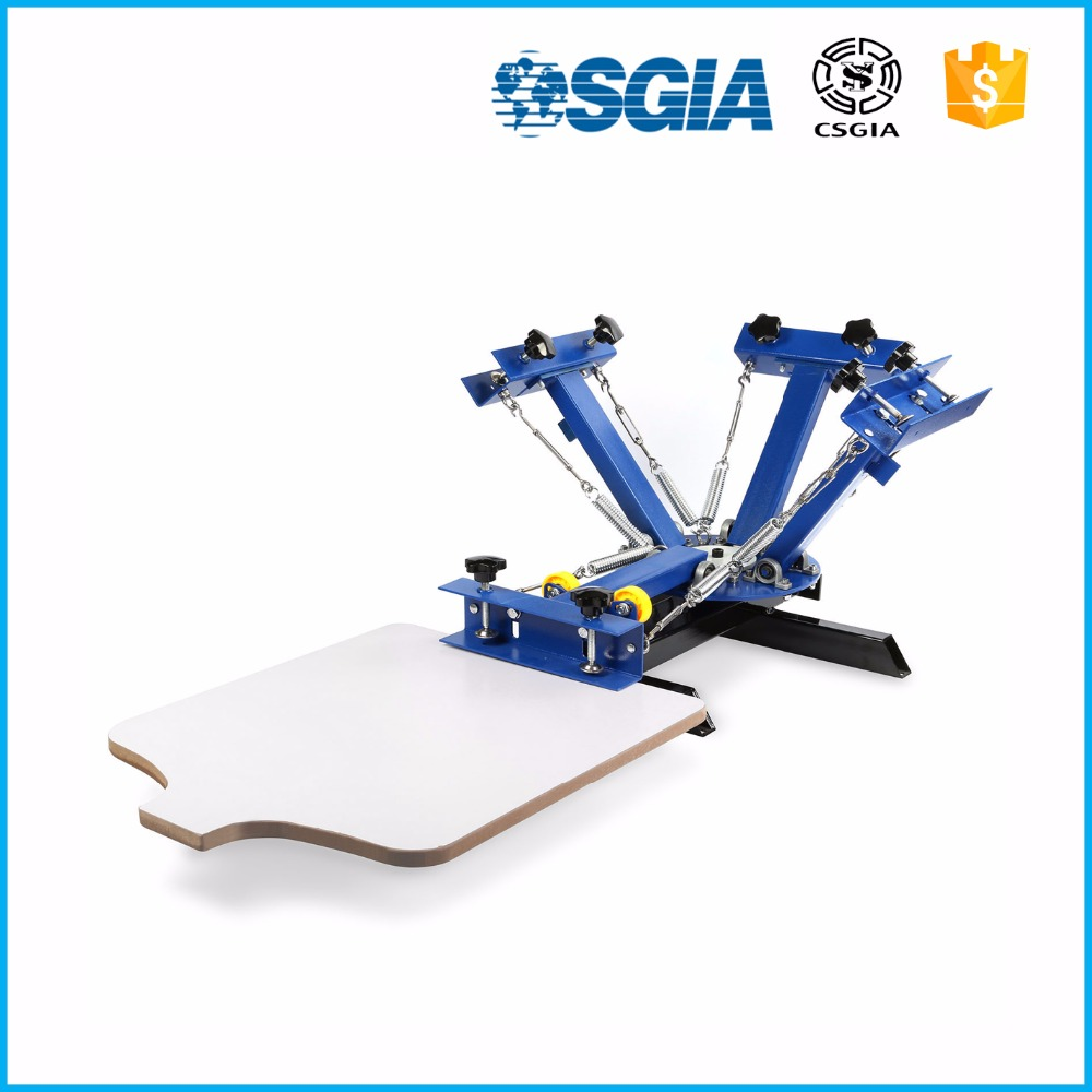 Good quality 4 color 1 station textile rotary silk screen printing machine for garment