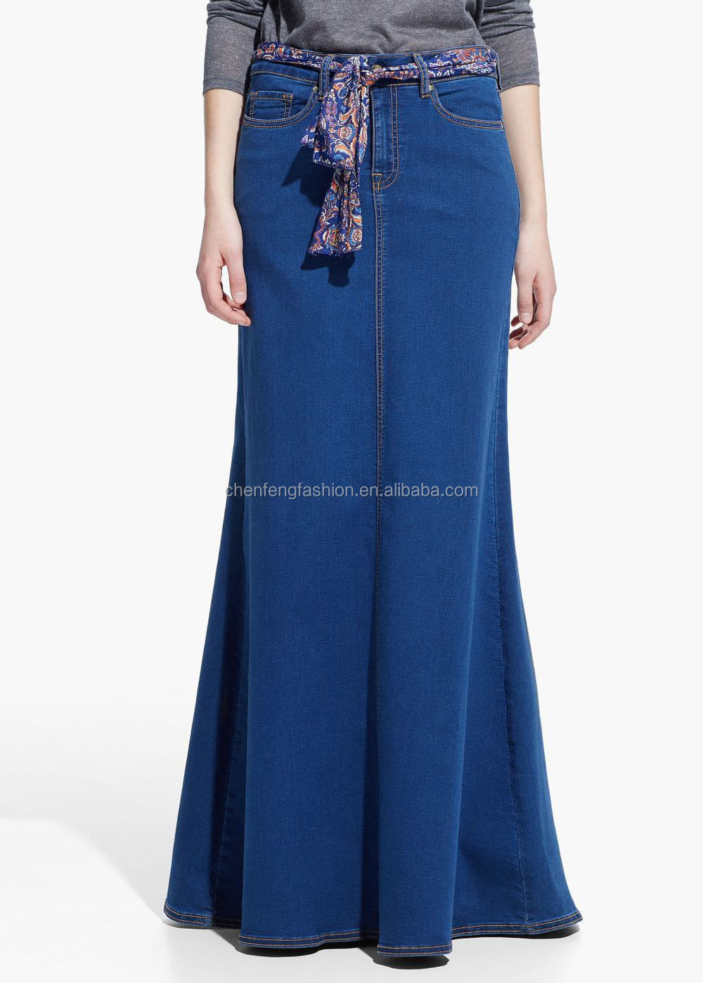 Women zip and button detail long skirt dark denim skirts 2016