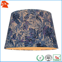 fancy pale blue barrel TC fabric printing flowers bedroom decoration lampshade