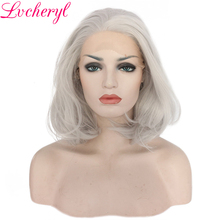 Lvcheryl Hand Tied Sliver Grey Short Wave Bob Synthetic Lace Front Wig Glueless Heat Resistant Fiber Natural Hair Wigs For Women