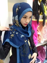 2016 New Style Flower Print Color Muslim Real Chiffon Silk Islamic Tudung Hijabs