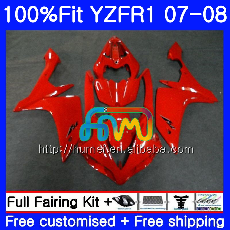 Injection Body For YAMAHA gloss red YZF <strong>R1</strong> 07 08 YZF-<strong>R1</strong> 2007 <strong>2008</strong> 90HM41 YZF1000 YZFR1 YZF-1000 YZF 1000 R 1 07 08 Fairings