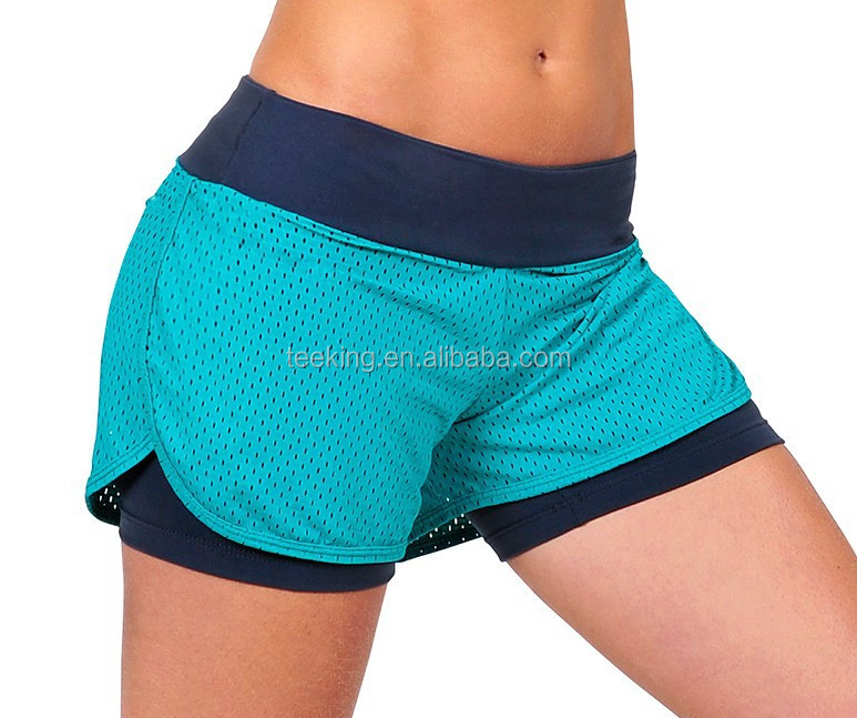 OEM Custom 90% polyester 10% spandex dri fit wholesale Womens Running Shorts