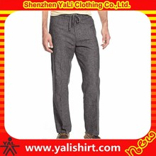 Fashion european style best quality solid color plain cheap drawstring slim fit mens linen pants