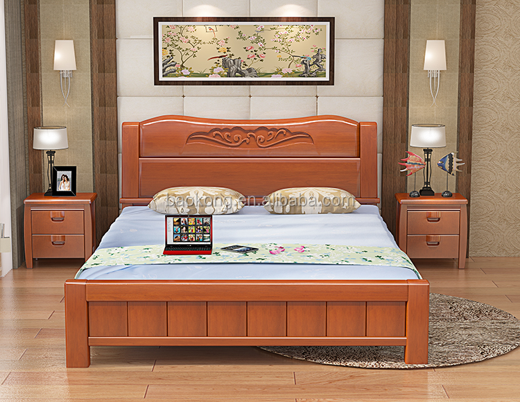 Popular Wooden Carved Double Size Bed