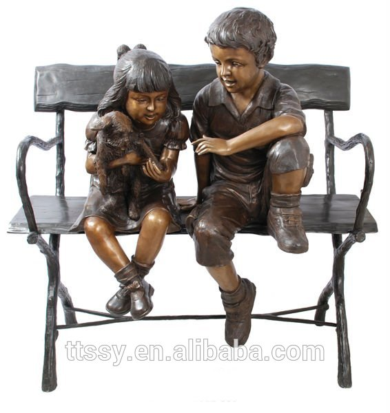 Garden bronze boy and girl statue