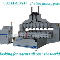 3D China supplier multi spindle cnc wood router carving machine FINECNC2500*1300mm