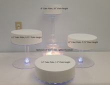 acrylic Multi Tier Wedding Cake Stand with LED Lights and Optional Water Fountain (4 Tier Stand, Without Fountain)