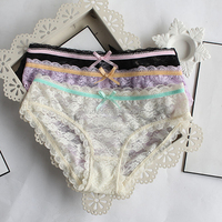 Pretty Yong Girls Sexy Cotton Spandex Night Hi Cut Small Thong Bikini Underwear