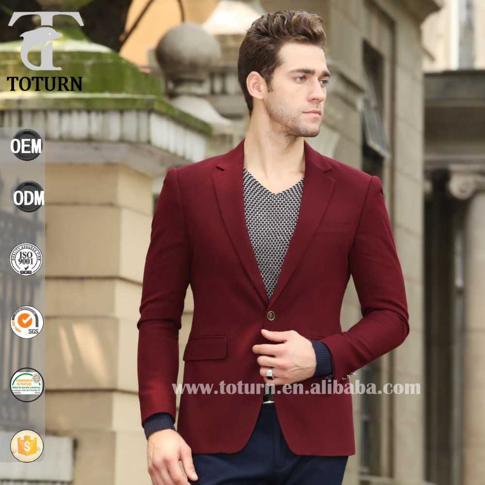 Toturn Mens casual dress suit red slim fit stylish blazer jackets