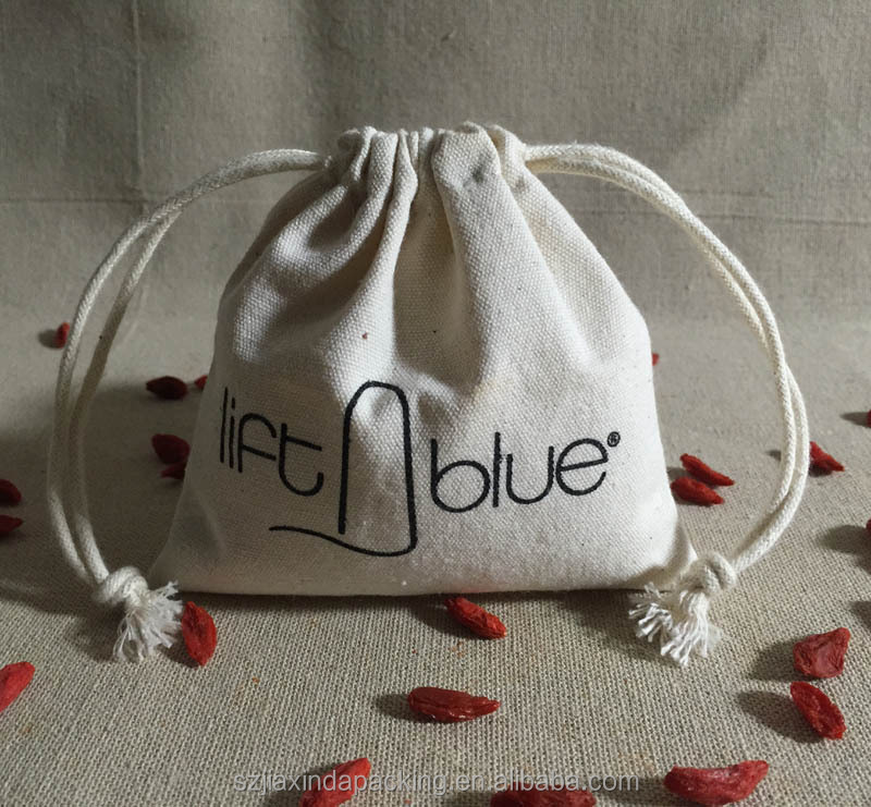 Natural Cotton Canvas Jewerly String Bag