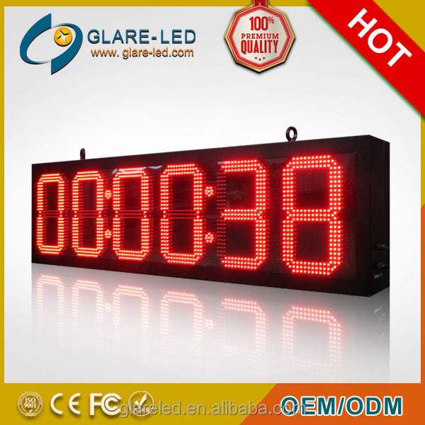 10mm red green 88:88:88 led clock remote control countdown outdoor digital led timer
